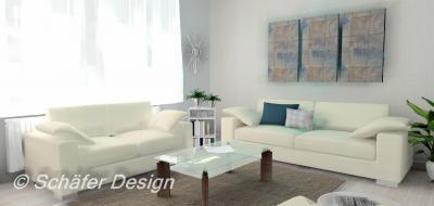 Fehér nappali kékkel és szürkével színezve - nappali ötlet, modern stílusban