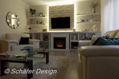 Különleges világítás a nappaliban - nappali ötlet, modern stílusban