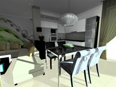 Monokróm konyha étkezővel - nappali ötlet, modern stílusban