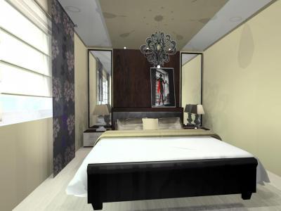 Elegáns falburkolat a hálószobában - háló ötlet, modern stílusban