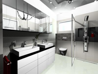 Modern fürdőszoba épített zuhanyfülkével - fürdő / WC ötlet, modern stílusban