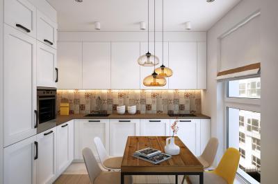 Fehér konyhabútor és üveg függeszték - konyha / étkező ötlet, modern stílusban