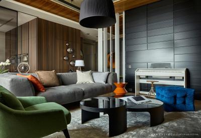 Puha textilek és faburkolat a nappaliban - nappali ötlet, modern stílusban