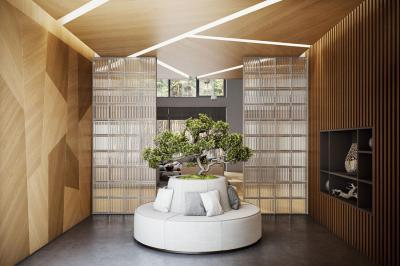 Különleges falburkolat és álmennyezet - belső továbbiak ötlet, modern stílusban