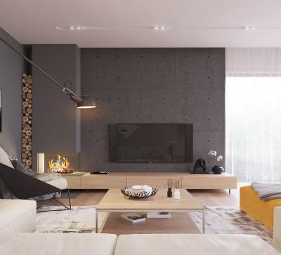 Modern kandalló a nappaliban - nappali ötlet, modern stílusban