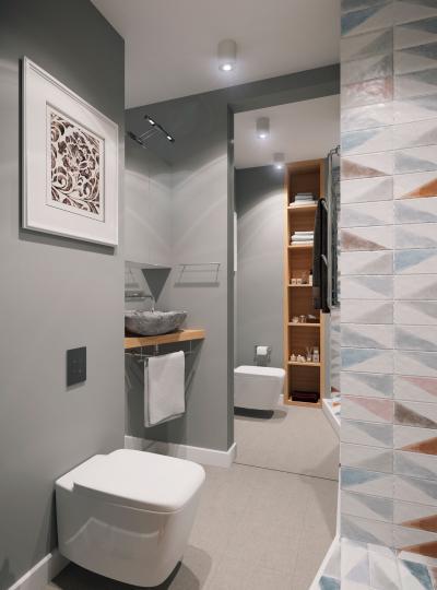 Dekoratív csempe a fürdőszobában - fürdő / WC ötlet, modern stílusban