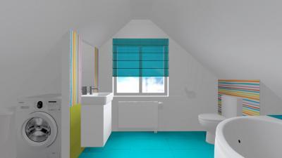 Kék csempe a padlón - fürdő / WC ötlet, modern stílusban