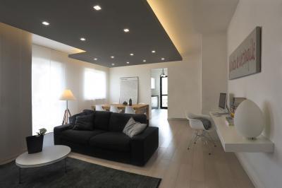 Álmennyezet a nappaliban - nappali ötlet, modern stílusban