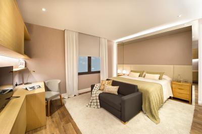 Bézs színek a hálószobában - háló ötlet, modern stílusban