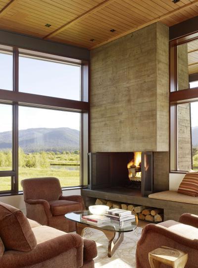 Társalgósarok a kandalló előtt - nappali ötlet, modern stílusban