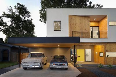 Kocsibeálló a bejárat mellett - bejárat ötlet, modern stílusban
