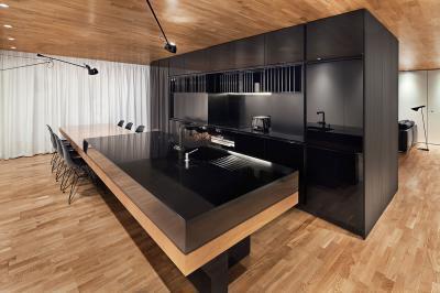 Különleges megjelenésű konyhasziget - konyha / étkező ötlet, modern stílusban
