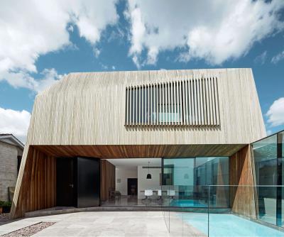 Különleges architektúra és faburkolat a homlokzaton - homlokzat ötlet, modern stílusban