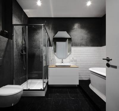 Fekete fehér fürdőszoba metrócsempével - fürdő / WC ötlet, modern stílusban