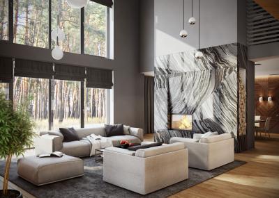 Nappali kandallóval és panoráma ablakkal - nappali ötlet, modern stílusban