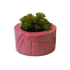 Rózsaszín geometrikus beton virágtartó