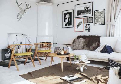 Skandináv stílusú nappali kályhával - nappali ötlet, modern stílusban