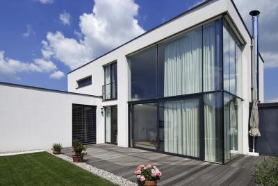 Panoráma ablakok a homlokzaton - homlokzat ötlet, modern stílusban