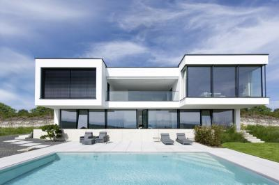 Falméretű ablakok - homlokzat ötlet, modern stílusban