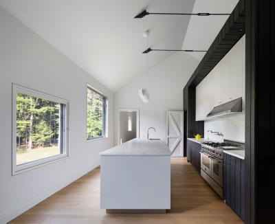 Fekete fehér színek a konyhában - konyha / étkező ötlet, modern stílusban