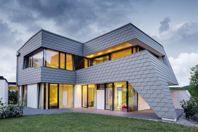 Homlokzatburkoló zsindely - homlokzat ötlet, modern stílusban