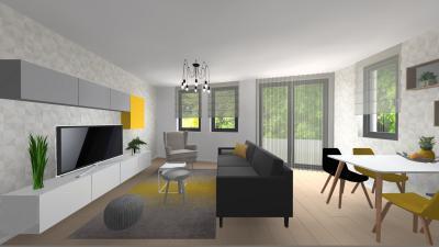 Monokróm nappali sárgával - nappali ötlet, modern stílusban