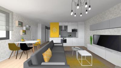 Egyterű nappali konyha étkező - nappali ötlet, modern stílusban