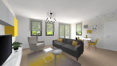 Modern bútorok klasszikus fotellel - nappali ötlet, modern stílusban