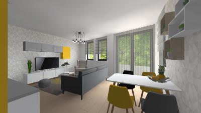 Nappali étkezővel - nappali ötlet, modern stílusban