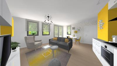 Modern nappali egyterű konyha-étkezővel - nappali ötlet, modern stílusban
