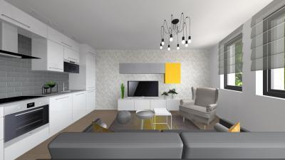 Látványos konyha egy térben a nappalival - nappali ötlet, modern stílusban