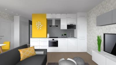 Fehér konyhabútor sárga dekorral - konyha / étkező ötlet, modern stílusban