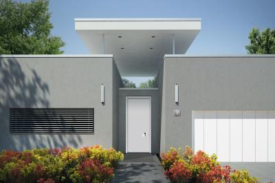 Fehér bejárati ajtó - bejárat ötlet, modern stílusban