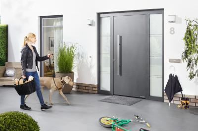 Bejárati ajtó kétoldali üvegezéssel - bejárat ötlet, modern stílusban