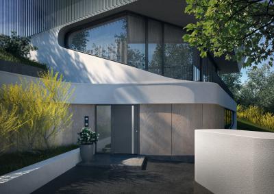 Homlokzathoz illő modern bejárati ajtó - bejárat ötlet, modern stílusban