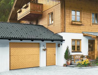 Garázskapu és bejárati ajtó rusztikus stílusban - bejárat ötlet, rusztikus stílusban