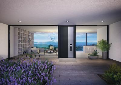 Bejárati ajtó üvegfallal - bejárat ötlet, modern stílusban