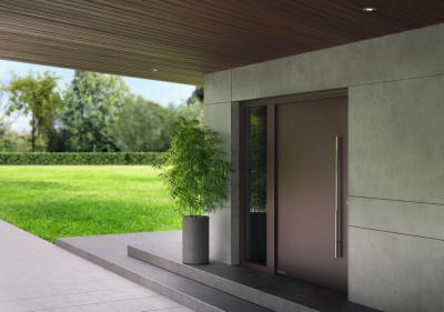 Bejárati ajtó oldal világítóval - bejárat ötlet, modern stílusban