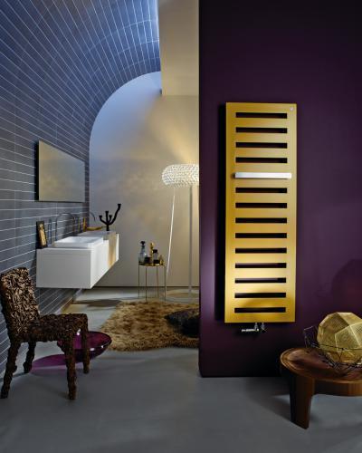 Zehnder Metropolitan Bar Gold Look melegvizes üzemmód - fürdő / WC ötlet, modern stílusban