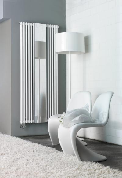 Zehnder Charleston Mirror Traffic White melegvizes üzemmód - nappali ötlet, modern stílusban