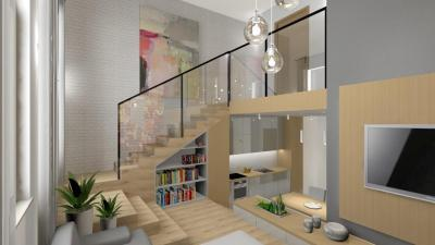 Üvegkorlátos galéria a nappaliban - nappali ötlet, modern stílusban