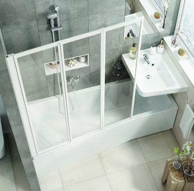 Fürdőkád kádparavánnal - fürdő / WC ötlet, modern stílusban