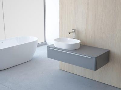 Rendhagyó formájú mosdó minimál stílusban - fürdő / WC ötlet, modern stílusban