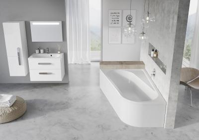 Tágas fürdőszoba látványos szaniterekkel - fürdő / WC ötlet, modern stílusban