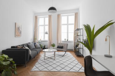 Növények a nappaliban - nappali ötlet, modern stílusban