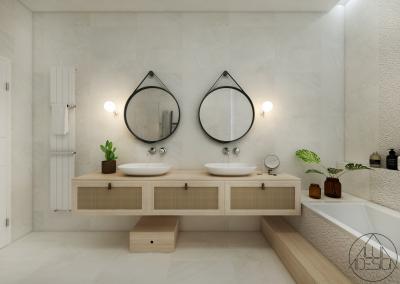 Dupla mosdó szekrénnyel - fürdő / WC ötlet, modern stílusban