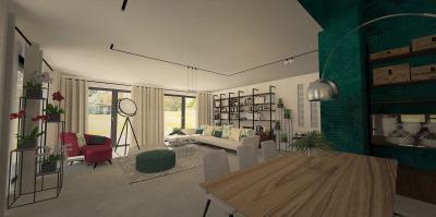 Zöld fal a nappali és az étkező között - nappali ötlet, modern stílusban