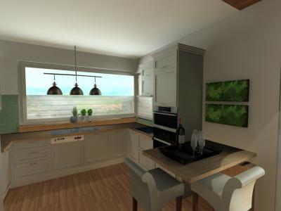 Melegburkolat a konyhában - konyha / étkező ötlet, modern stílusban