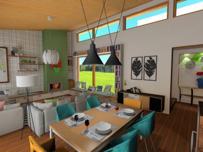 Hangulatos nappali étkezővel - nappali ötlet, modern stílusban