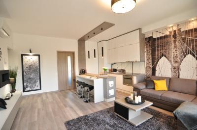 Kis lakás konyha-nappalija - nappali ötlet, modern stílusban